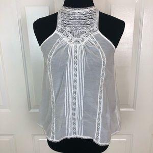Joie Women's White Sleeveless Crochet High Neck